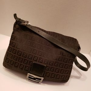 Fendi black canvas mama baugette purse